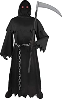 SUNYPLAY Halloween Grim Reaper Costume for Kids,Deluxe Halloween Costume with Glowing Glasses,Chain,Scythe and etc.
