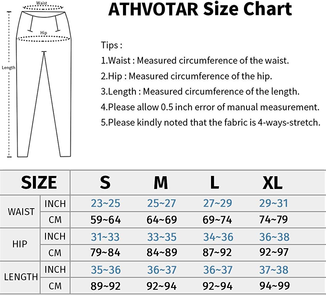 ATHVOTAR Yoga Workout Pants with Pockets for Women High Waisted Tummy Control Yoga Leggings