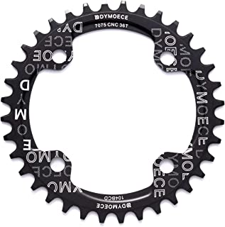Dymoece Narrow Wide Bike Single Chainring 104BCD 32T 34T 36T 38T for 9 10 11 Speed Round,Black/Red-Compatible with Most of...