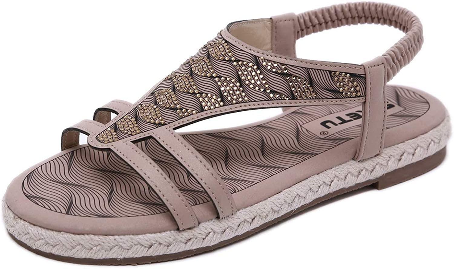 Ankle Strap and Metal Summer Flat Sandals for Women