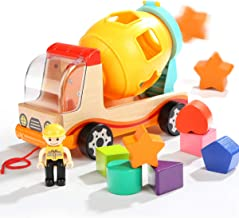 TOP BRIGHT Shape Sorter Toys for Toddlers - Dump Trucks Wooden Toys for 2 3 Year Old Preschool Boys Girls Gifts