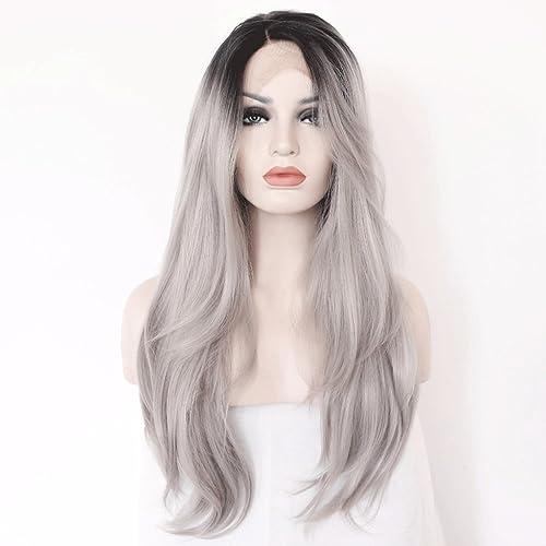 venta MXZ Peluca Peluca de de de Encaje Ondulado Largo Europeo y Americano gris - mujeres Naturales de Moda mullidas  buen precio