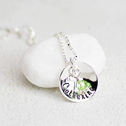 Girls Personalized Necklace with Birthday Crystal and Cross, First Communion, Confirmation