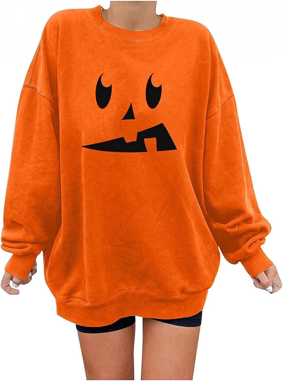 Womens Halloween Shirts Long Sleeve, Womens Long Sleeve Skeleton Pumpkin Print Sweater Shirts Oversized Pullover Tops