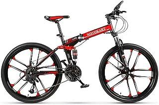 comprar comparacion Novokart - Bicicleta Plegable Unisex para Adulto, Color Negro y Rojo, 21 Stage Shift