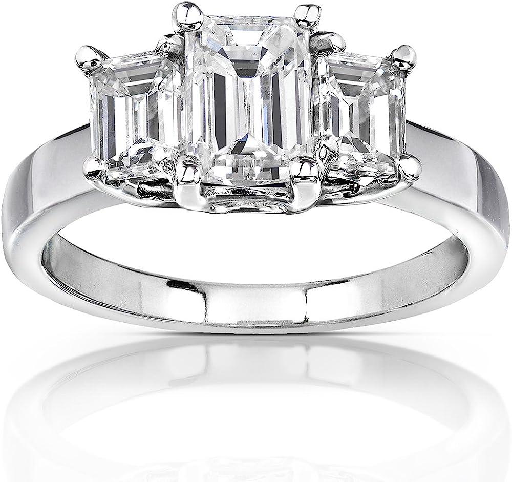 Kobelli Emerald-cut Moissanite Three-stone Engagement Ring 2 3/4 CTW 14k White Gold
