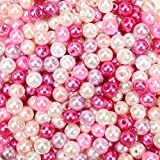 TOAOB 500 Piezas de Cuentas de Vidrio de 6 mm Abalorios de Cristal Tono Rosado Perlas de Imitación para Bisuteria Hacer Joyas Pulsera Collar