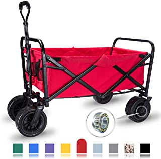 WHITSUNDAY Collapsible Folding Garden Outdoor Park Utility Wagon Picnic Camping Cart with Wheel Bearing (Standard Size(Plus+) 8