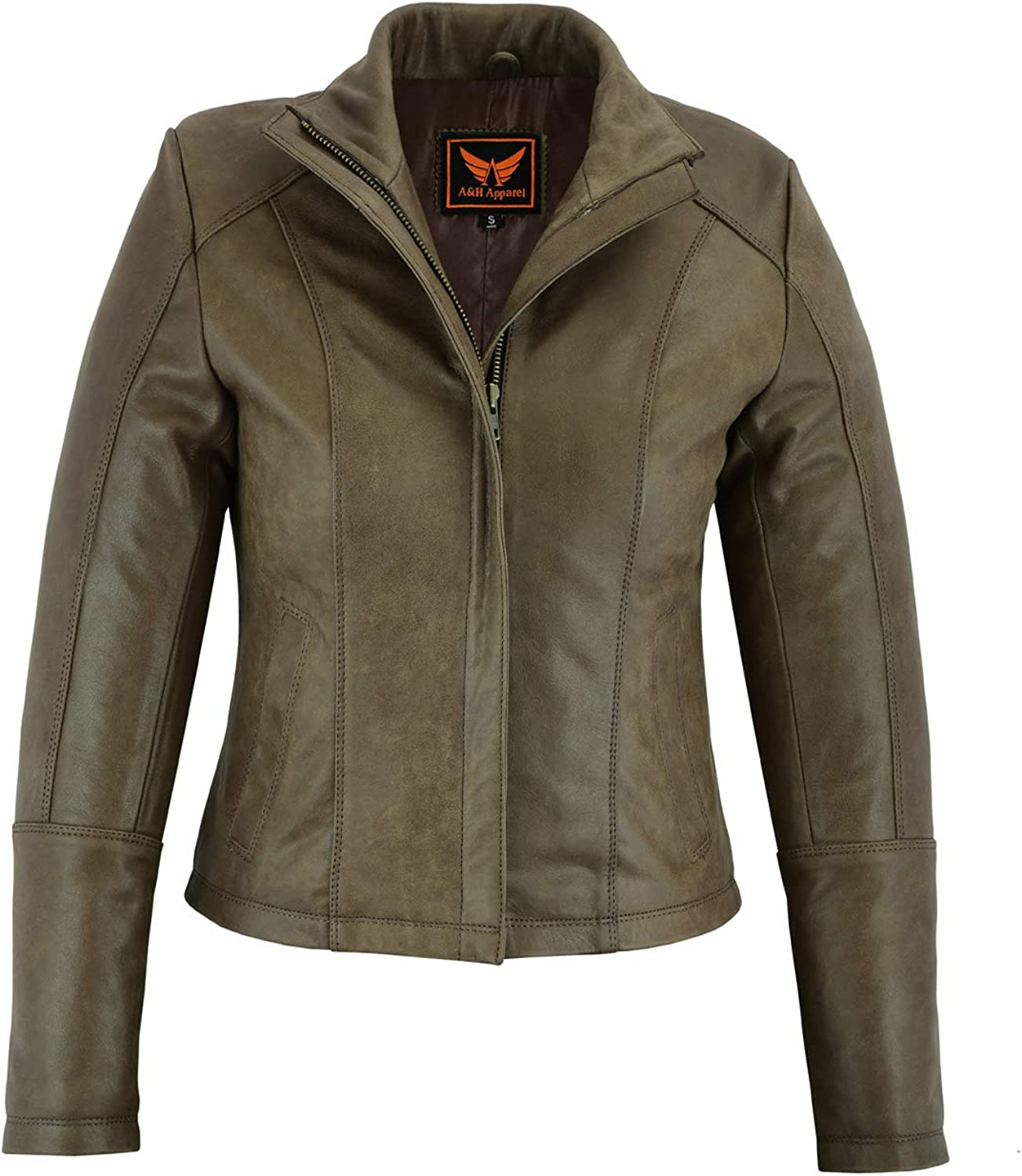 A&H Apparel Women Motorcycle Cowhide Lightweight Leather Jacket Casual