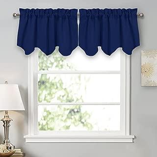 PONY DANCE Window Treatments Valances - Light Block Curtain Tiers Rod Pocket Top Scalloped Valance Soft Textured Woven Tier for Kitchen, 42 W x 18 L, Purplish Blue, Set of 2