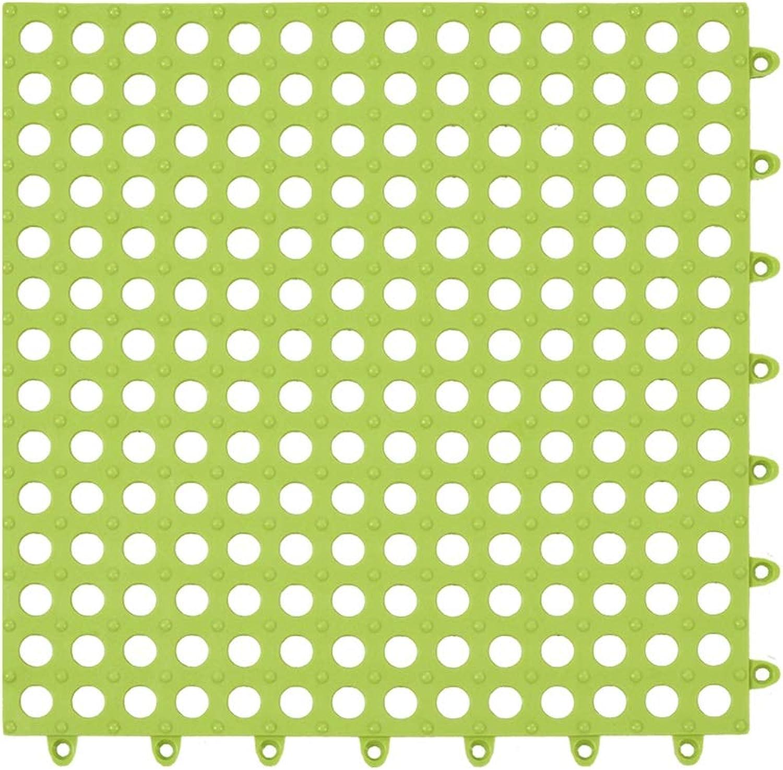 XXIOJUN-shower mat Non-slip Drainage Hole Splice Withstand Voltage Environmental Predection PVC Carpet, 3 colors, 14 Sizes (color   Green, Size   22PCS-30X30CM)