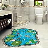 3D ウォールステッカー 和モダン 形成池5 鯉 騙し絵 トリックアート はがせる 壁紙 シール 防水 DIY 壁 床 家具 インテリア 天井