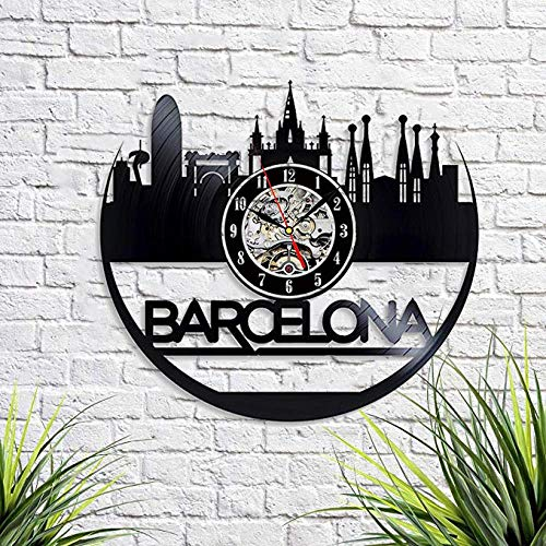 Barcelona City Wall Clock Vintage Vinyl Record Retro Wall Clock Barcelona City Art Wall Clock 12 Inch Barcelona City Birthday Gift Barcelona City Gift New Year Gift USA City Home Decor with Led