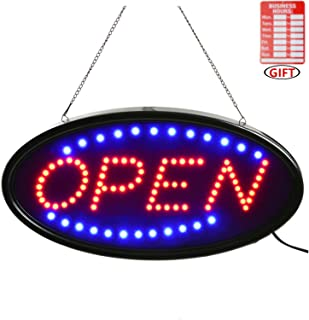 Open LED Sign,LED Business Open Sign Include Business Hours Sign Advertisement Board Electric Display Sign,18.9x9.84inch Two Modes Flashing&Steady Light for Business,Walls,Window,Shop,Bar,Hotel