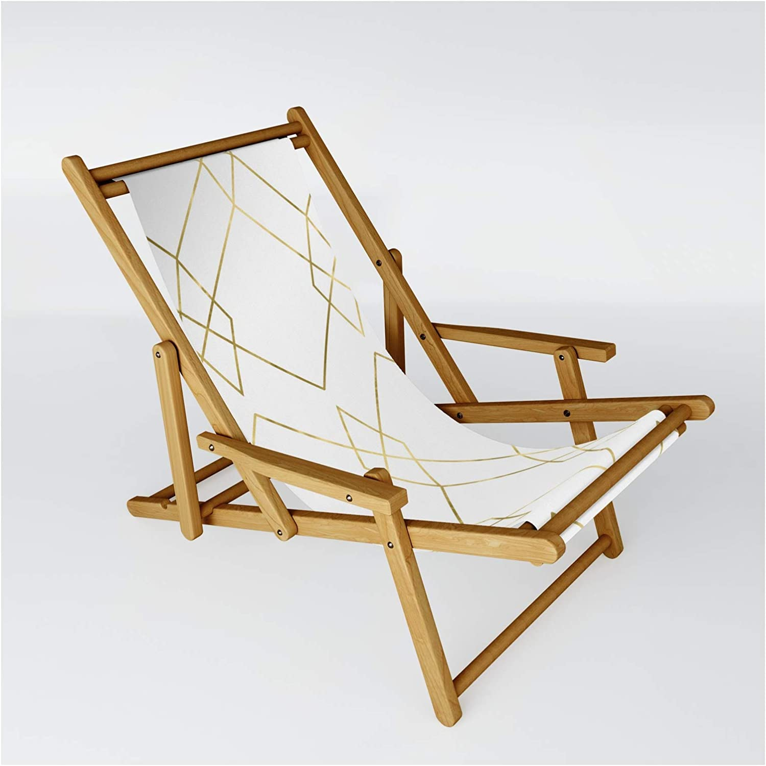 Society6 Gold Geometric by Simple Luxe Sling Chair on Free shipping on posting reviews One Our shop most popular - Size