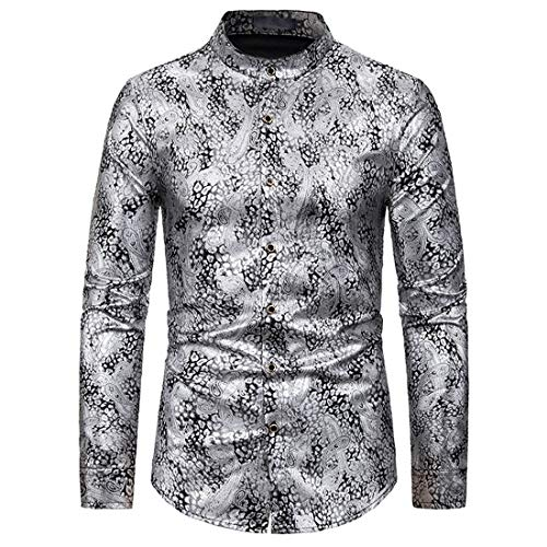 Herrenhemd Langarm Casual Tops Elegantes Oberhemd Phantasie Blumendruck Modische Top Klassisches Vintage Shirt Modern Chic Klassisches Design Party Prom Dating Performance Outfit M