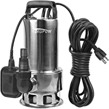 Trupow 1.5HP 110v Submersible Sewage Drain Flood Stainless Steel Clean/Dirty Water Sump Transfer Pond Garden Pump