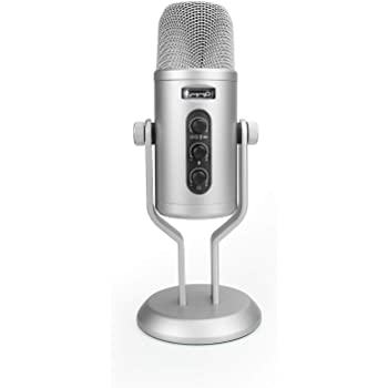 AmazonBasics Professional USB Condenser Microphone with Volume Control and OLED Screen, Silver