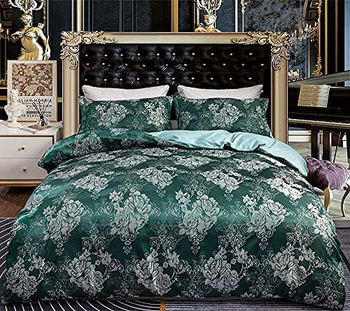 FREW Sängkläder 135 x 200 grå jacquard påslakan barock mönster silver satin påslakan hög kvalitet lyx sängkläder set