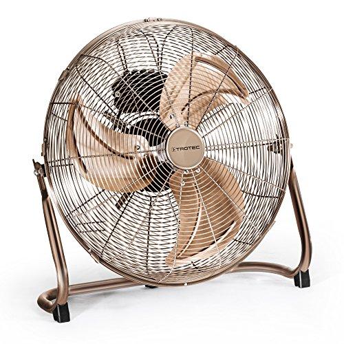 TROTEC Ventilador de Suelo TVM 17, 100 W, 3 Velocidades de Ventilación, Portátil, Silencioso, Inclinación Regulable 110°, Pie de Apoyo Estable y Antideslizante, Hogar, Oficina, Vintage, Bronce