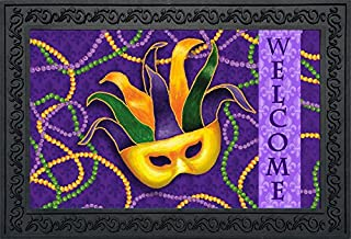 Briarwood Lane Mardi Gras Doormat Mask Beads Indoor Outdoor 18
