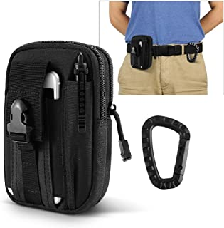 "AIRSSON Universal Tactical Molle Pouch EDC/EMT Gear Tool Gadget Belt Outdoor Waist Bag Pocket Organizer with Cell Phone Holster for iPhone X Samsung S8 & Less Than 6.2"" Smartphone+Carabiner (Black)"