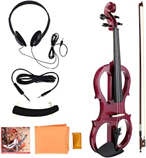 Alomejor Violin 4/4 Electric Violin Fiddle Maple Body con Auriculares Rosin para Violinista Rendimiento Profesional