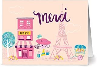 All Occasion Greeting Cards – 24 Pack - Unique Merci Cafe Design – HOT PINK ENVELOPES INCLUDED – Blank Greeting Card – Glossy Cover Blank Inside – By Note Card Café