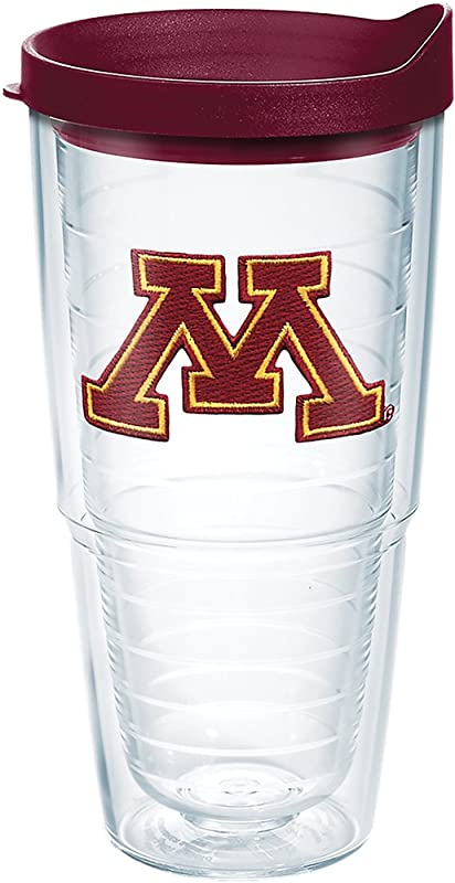 Tervis 1274519 Minnesota Golden Gophers M Logo Tumbler With Emblem And Maroon Lid 24oz Clear