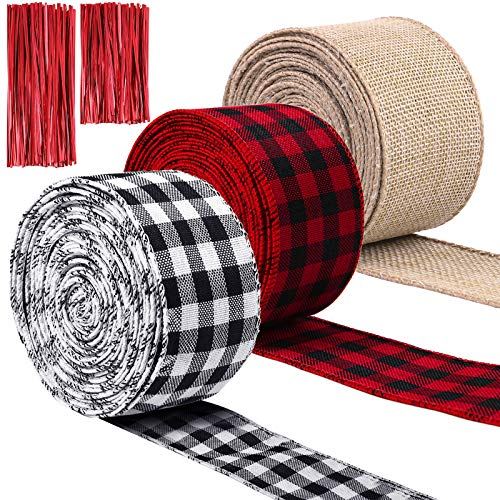 URATOT 3 Rolls Christmas Wrapping Ribbon Plaid Burlap Wired Ribbon with Twist Ties for Christmas Crafts Decoration, Floral Bows Craft Supplies