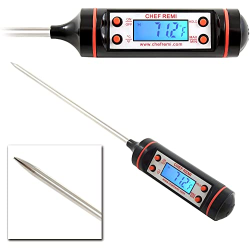 Digital Cooking Thermometer With Bright Light For Easy Reading - Use Our Long Probe To Get An Instant Temperature Reading - Suitable For All Foods, Meats, Hot Oil, Candy Making Etc.