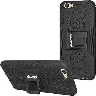 AMZER Slim Protective Shockproof Hybrid Warrior Case Heavy Duty Dual Layer Cover Skin for Vivo V5 Plus - Black/Black
