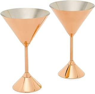 Tom Dixon Men's Plum Martini Glasses Set, Copper, Metallic, Bronze, One Size