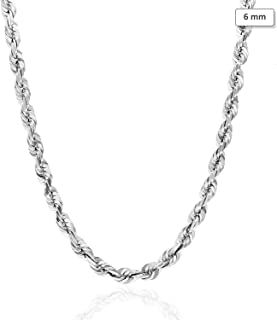 "14K Solid White Gold 6mm Diamond Cut Rope Chain Necklace 22"" 24"" 26"" 28"" 30"""