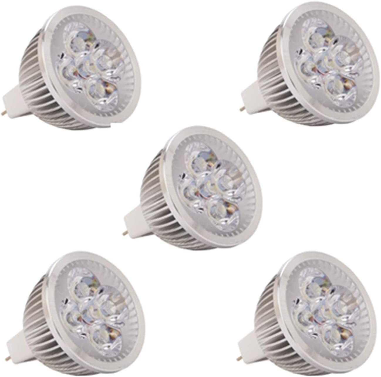 YQGOO Bombillas LED MR16, AC/DC 24V 36V 4W, 350-400lm, 60 & deg;Ángulo de Haz, Equivalente a halógeno de 30 W [Clase energética A +] 5 Piezas (Color: Blanco cálido, Edición: 24 V CA/CC)
