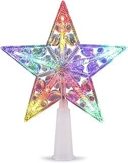 VOLADOR Christmas Tree Topper Star, LED Treetop Star Light Ornament for Xmas Tree Decoration