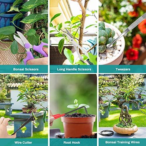 Wikay 10 Outils de Jardin avec Sac de Transport Ensemble d'outils de Jardinage Comprenant Coupe-Fil Ciseaux de Coupe Crochet Racine pour Jardin, Ferme, Pelouse