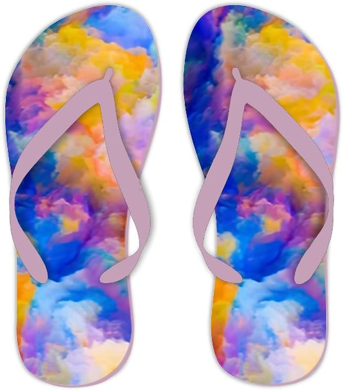 Summer Flip Flops for Men Women Colors Imagination Series Background Design Soft Lightweight Non Slip Sandals for Shower Beach Pool Bathroom Flat 6.5