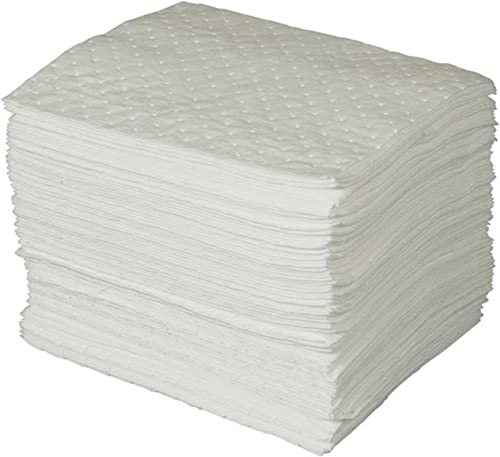 "Brady SPC Basic Oil-Only Heavy Weight Absorbent Pad, White, 15"" L x 17"" W (100 Sheets Per Bale) - BPO100"