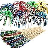 ALINK 100 Stück Cocktailspieße Cocktail Picks Feuerwerk Sticks, Feuerwerk Sticks Cocktail Deko Benutzt für Cocktail Party Dekorationen, Bunte Frucht Zahnstocher Palme Cocktail Picks