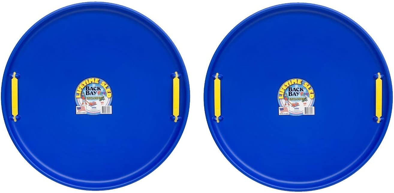 Durable Sled Sets for Winter Sledding Outdoors for Kids and Adults Snow Sled with Handles Ages 5 and Up- Made in USA Back Bay Play Lifetime Downhill Saucer Disc Bundle