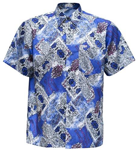 Herrenhemd Kurzarm Thai Seide Vintage gemustert (Blau, XXXL)