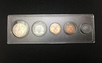 DE 1938 Rare WW2 German Coins Set Big Eagle SILVER Coin with Secure Display Case Perfect Circulated Coins