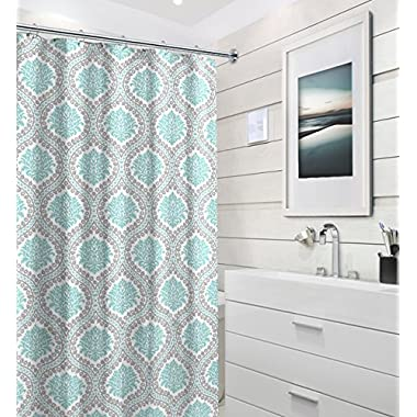 Aqua Grey White Fabric Shower Curtain: Canvas with Decorative Floral Damask Design, 70  x 72  inches