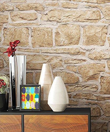 NEWROOM Steintapete Tapete Beige Mauer Stein Modern Papiertapete Papier moderne Design 3D Optik Steintapete Ziegelstein Backstein Mauerwerk Klinker Loft inkl. Tapezier Ratgeber