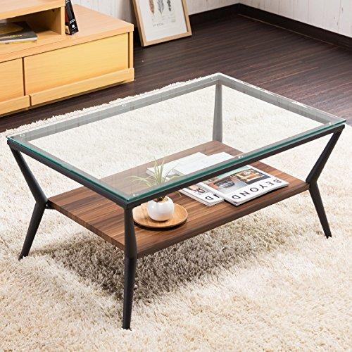システムK センターテーブル ガラステーブル ローテーブル ダークブラウン 80cm幅テーブル