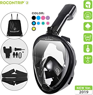 ROCONTRIP Full Face Snorkel Mask, Free Breathing 180° Panoramic View Diving Mask, Anti-Fog Anti-Leak and Adjustable Head Strap Snorkeling Mask for Men Women Adult