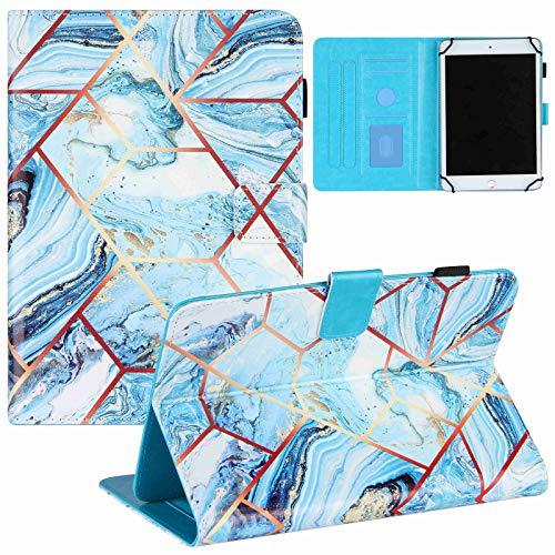 ZOOMALL Funda tipo libro para tablet de 6,5 a 7,5 pulgadas, universal, soporte de piel vegana premium, con soporte para lápices, para tablet universal de 6,5 a 7,5 pulgadas, color azul