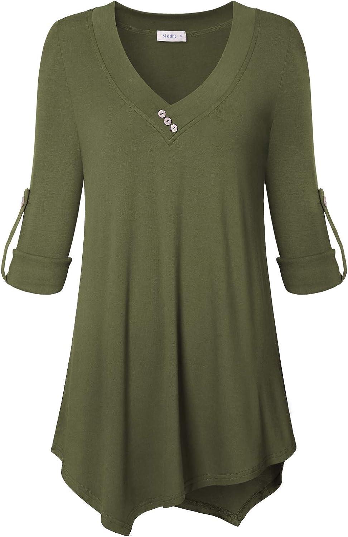 Siddhe 3 4 Long Sleeve Shirts for Women, VNeck Flowy Tunics Tops for Leggings