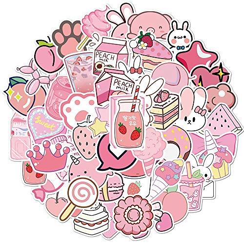 ZHXMD Dibujos Animados Kawaii Pegatinas Rosadas para niñas Equipaje portátil monopatín Bicicleta Mochila calcomanía Pegatinas de Juguete para Regalo de niños 50 Uds